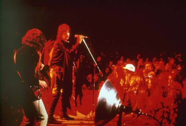 "In this Dec. 8, 1969 file photo, the Rolling Stones perform at the ""Gimme Shelter"" rock concert at the Altamont Race Track in California (AP Photo, file)"