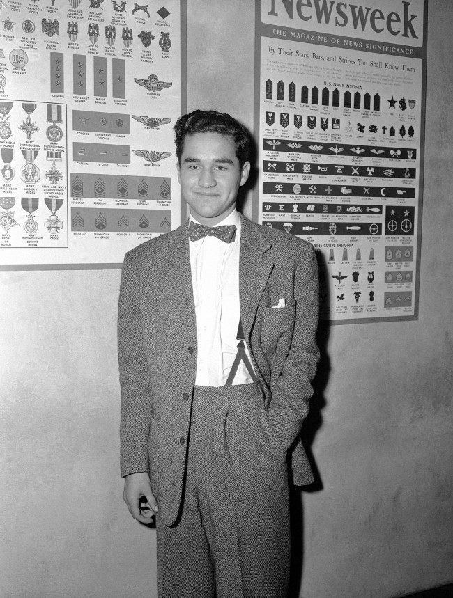 Charles Chaplin Jr., son of the movie comedian, at army induction station in Los Angeles on Oct. 1, 1943, where he reported for his physical examination. (AP Photo/CJDES)
