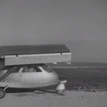 Early Flying Car Soars Above Rome (1947)
