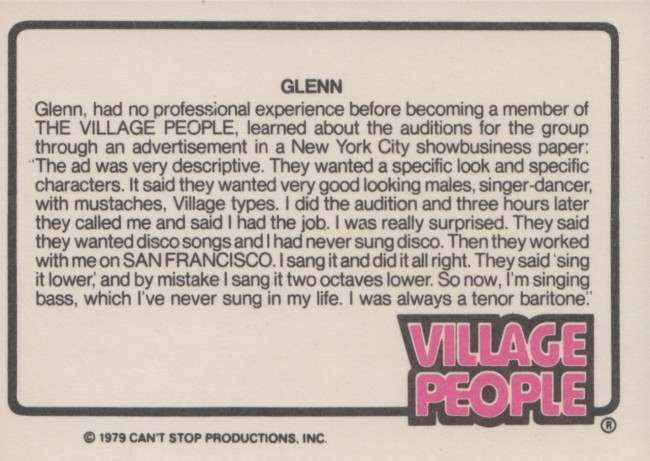 glenn village people card