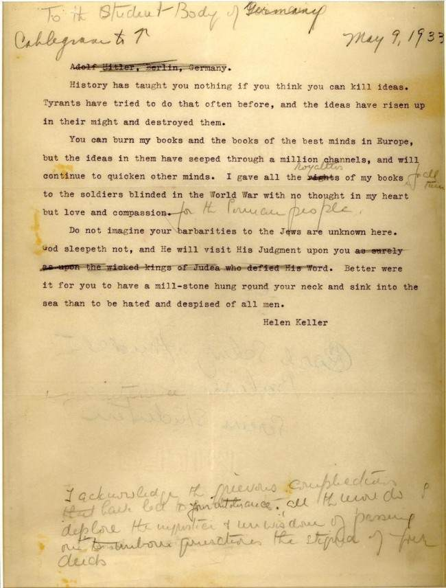 helen keller letter to germans