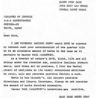 In 1980 Lee Scratch Perry Tried To Bust Paul McCartney From A Japanese Jail With This Letter