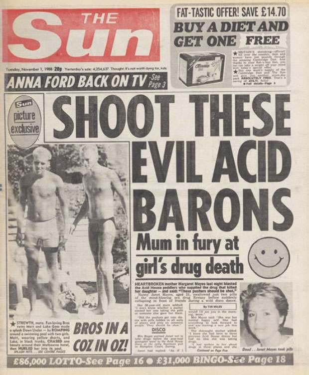 When acid house freaked out fleet street tabloid horror for Acid house music 1988