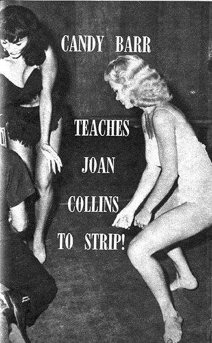 Candy teaches Joan Collins to strip