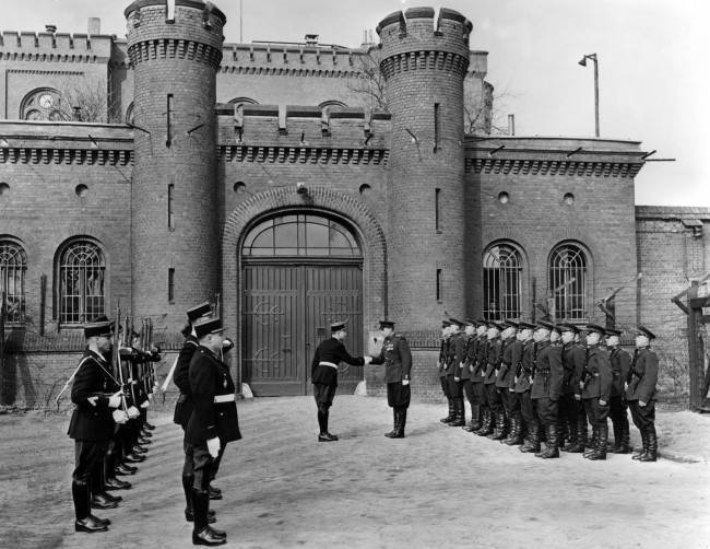 Undated image of the changing of the guard at Spandau war criminals prison in Berlin, Germany in the post-war era.