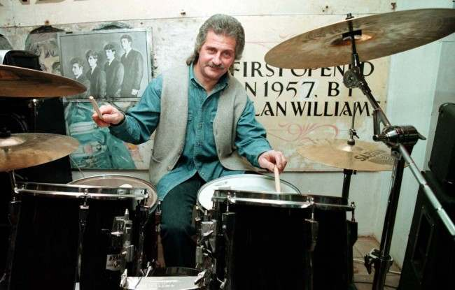 Former Beatles drummer Pete Best back in the Jacaranda Club in Liverpool's Slater Street, the first club the Beatles ever played in.  Date: 25/01/1996