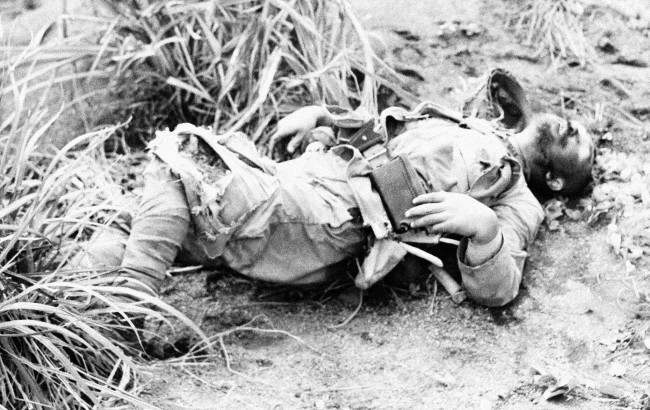 Japanese soldier is seen Feb. 23, 1945 on Iwo Jima, Japan, edge of Motoyama Airfield No. 1.