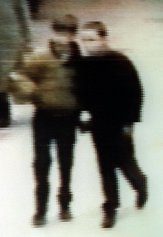 "PA NEWS PHOTO 18/2/93 ""ENHANCED"" VIDEO OF TWO YOUTHS THAT POLICE WOULD LIKE TO QUESTION IN CONNECTION WITH THE MURDER OF JAMES BULGER."