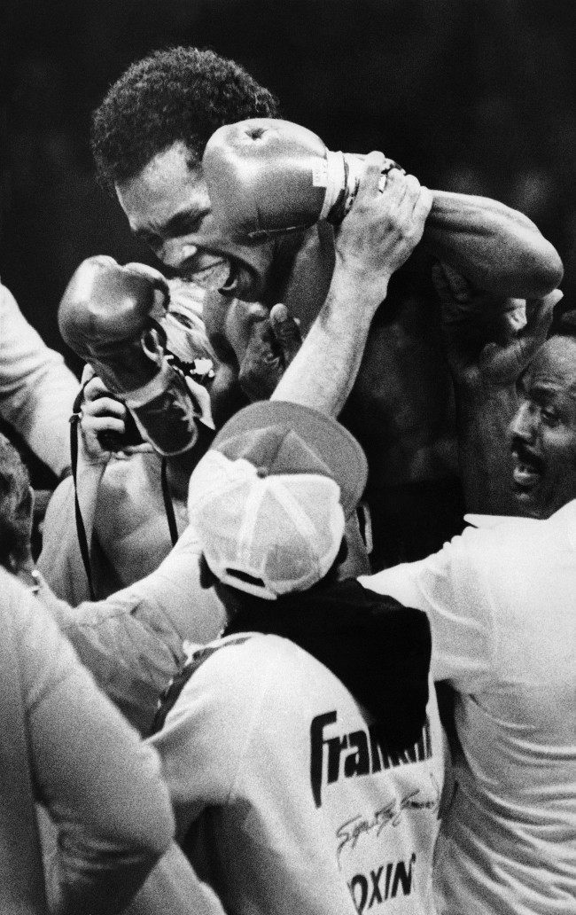 Sugar Ray Leonard is all smiles after winning the WBC World Welterweight title from Roberto Duran in New Orleans on Nov. 25, 1980. As he smiles his mouthpiece falls out of his mouth.