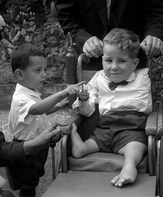 A Thalidomide baby born without arms at a party given at Hamilton Terrace, London to mark the first anniversary of Lady Hoare Thalidomide Appeal. Date: 24/07/1963