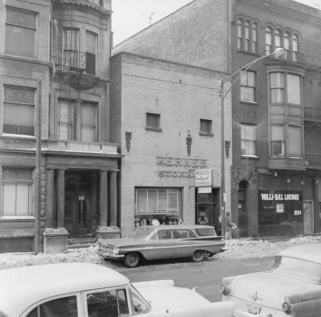 The St. Valentine's Day Massacre took place in this nondescript building in Chicago, shown Feb. 4, 1959. (AP Photo/Harry L. Hall)
