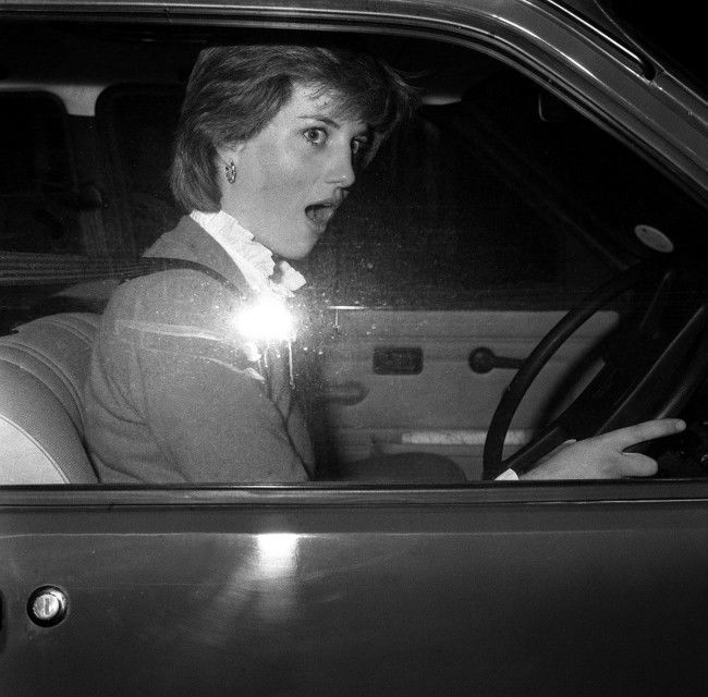 Lady Diana Spencer's look of astonishment as she stalls her car - a new Mini Metro - outside her Earl's Court flat when leaving for her job as a teacher at a kindergarten in Pimlico, London. Speculation continues that she may have a romantic involvement with the Prince of Wales. Date: 17/11/1980