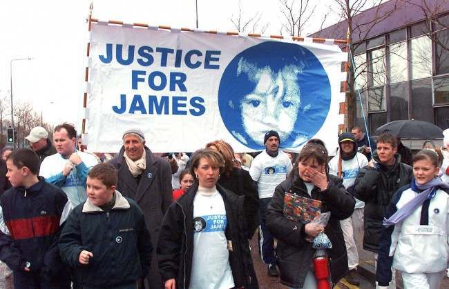 Denise Fergus, 33, centre, the mother of the murdered little boy James Bulger leading a march of more than 300 people in protest at the expected release of his killers. She led the procession through the streets of her home town in Kirkby, Merseyside * ... to highlight her Justice for James campaign. The campaign was set up last December after the Lord Chief Justice, Lord Woolf, said the youngster's killers' tariff should be over. Marchers were walking two miles to St Mark's Church in Northwood, where a memorial service was being said for James to mark the eighth anniversary of his march from Kirkby Town centre .  Date: 10/02/2001