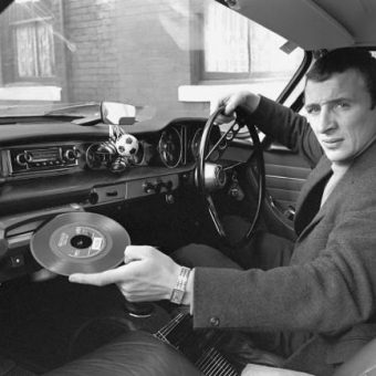 1967: Manchester City's Mike Summerbee Demonstrates His Car's Built-In Record Player