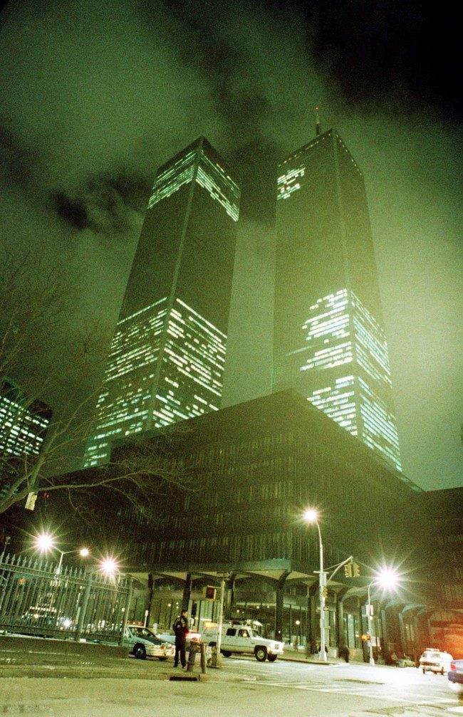 In this file photo of Feb. 26, 1993, the twin towers of the World Trade Center in New York City are shown in the aftermath of an explosion earlier that day.