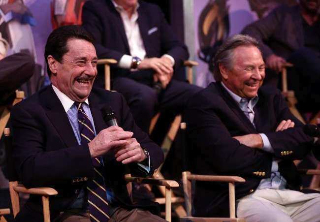 "Peter Cullen, actor and the voice of Optimus Prime, left, and Frank Welker, actor and the voice of Megatron, speak at The Hub's ""Transformers Prime Beast Hunters"" World Premiere Screening Event on Thursday, March 14, 2013 in Universal City, Calf."