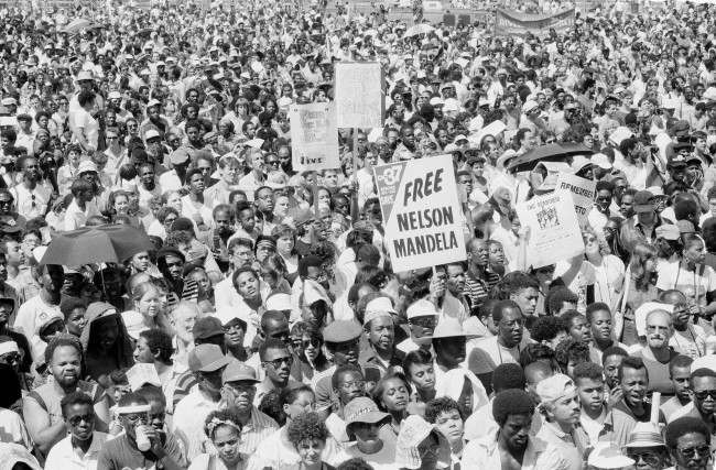 Tens of thousands of demonstrators filll New York's Central Park, June 14, 1986. The group protested with songs, signs and chants against apartheid, calling for President Reagan to impose rigid economic sanctions on South Africa. (AP Photo/Ralph Ginzburg)