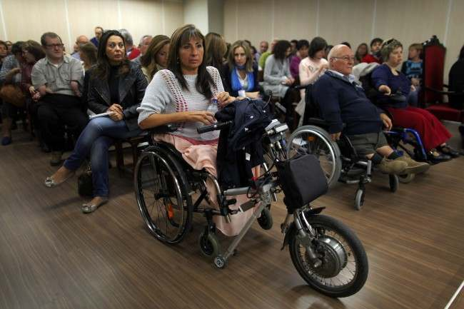 Spaniards born with severe defects wait for the trial against German company Gruenenthal Group to start at the Court in Madrid, Spain, Monday, Oct. 14, 2013. Spaniards born with severe defects after their mothers used the drug Thalidomide during their pregnancies are suing its producer, the German company Gruenenthal Group. The Monday trial will last one day and a ruling is expected within a month. Many of the children of the mothers who took the drug, a sedative prescribed between 1950 and 1960 to combat morning sickness, were born with abnormally short limbs and in some cases without any arms, legs or hips. Gruenenthal, who withdrew Thalidomide in 1961, has refused to accept liability, but last year it apologised to victims.  Date: 14/10/2013