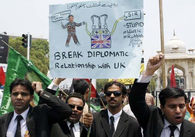 Pakistani lawyers hold a rally to condemn the British government for awarding knighthood to British author Salman Rushdie in Lahore, Pakistan. The decision to award Rushdie a knighthood has sparked a harsh reaction throughout much of the Muslim world.  Date: 21/06/2007