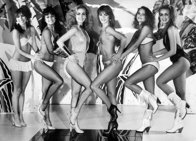 Dance troupe Legs & Co modelling swimwear, left to right, Patti, Pauline, Gill, Sue, Lulu, and Rosi in thr Spring/Summer 1981 collection.