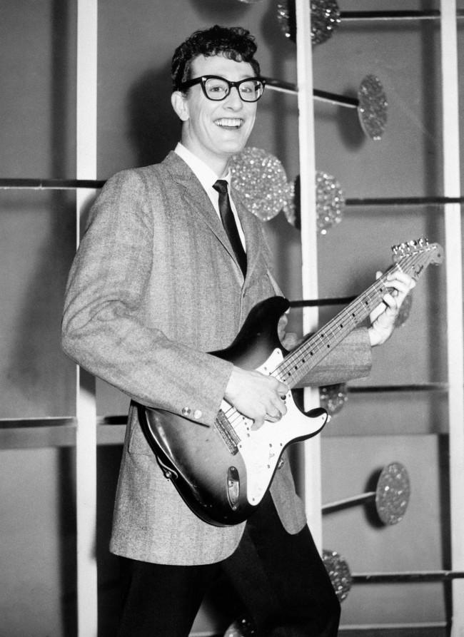 American rock and roll singer Buddy Holly, on stage at the Ritz Theatre, Wigan.