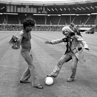 1972: Little Richard And 'Screaming' Lord Sutch Play Football At Wembley Stadium