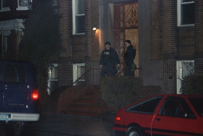 FBI agents remove evidence, March 10, 1993 in Maplewood, New .Jersey, home of Nidal Ayyad after the morning arrest of Ayyade in connection with the bombing of the World Trade Center.
