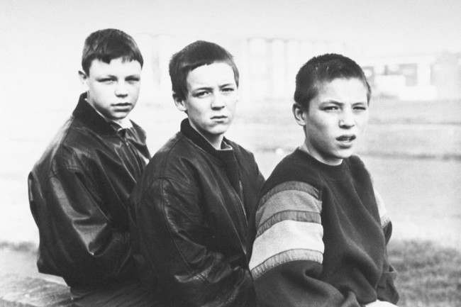 THREE OF THE BOYS WHO FOUND THE BODY OF TWO YEAR-OLD JAMES BULGER. L-R, STEPHEN GUNNIAN, JAMES RILEY AND HIS BROTHER TERENCE.  Date: 15/02/1993