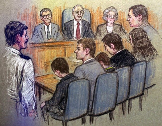 A BBC ARTISTS DRAWING OF THE SCENE IN SOUTH SEFTON MAGISTRATES COURT AS TWO TEN YEAR OLDS APPEARED CHARGED WITH THE MURDER OF JAMES BULGER.  Date: 03/03/1993