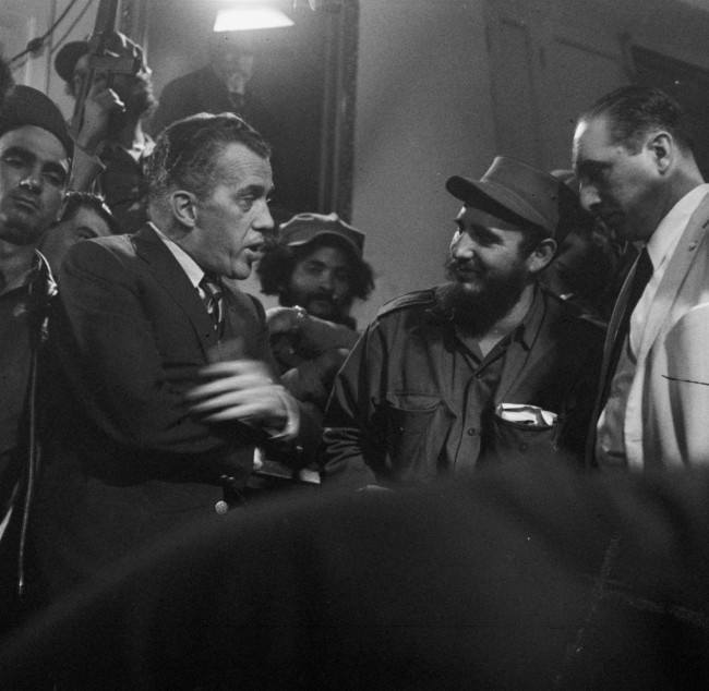 Fidel Castro talks with Ed Sullivan, TV variety show host and N.Y. Daily News columnist, January 6, 1959 in Matanzas, Cuba.