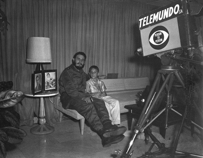 Cuba's revolutionary leader Fidel Castro sits with his nine-year-old son, Fidel Jr., as he appears on the U.S. television program Date: 06/02/1959