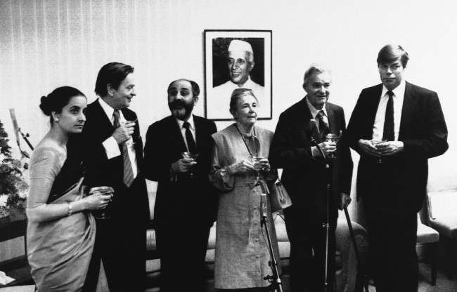 Mrs. Alva Myrdal, co-winner of the Nobel Peace Prize, and her husband Gunner Myrdal were awarded the 1981 Nehru Prize at a ceremony at India Embassy in Stockholm on Thursday on Nov. 18, 1982. Left to right: Mrs. Ambassador-wife Baksi, Sweden''s Prime Minister Olof Palme, Indian Ambassador to Sweden K. N. Baksi, Mrs. Alva Myrdal, Professor Gunner Myrdal and Sweden Foreign Minister Lennart Bodstroem.