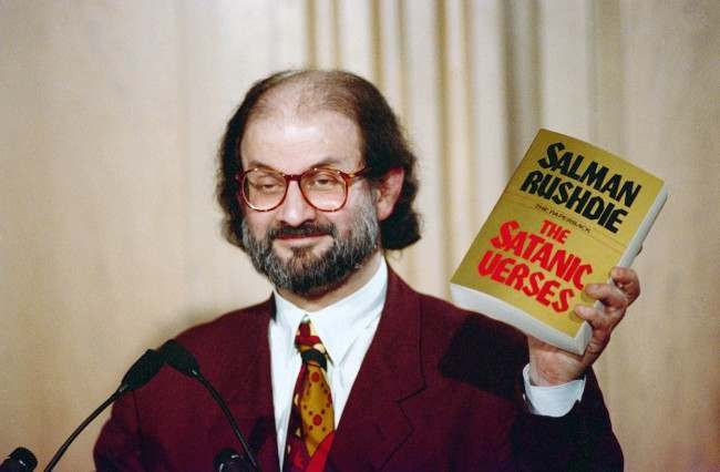 Salman Rushdie at Freedom Forum in Arlington, Virginia in March 1992. (AP Photo/Ron Edmonds) Date: 01/03/1992