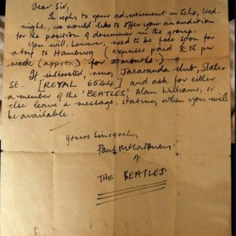 Paul McCartney's 1960 Letter To Audition A Drummer For The Beatles Trip To Hamburg