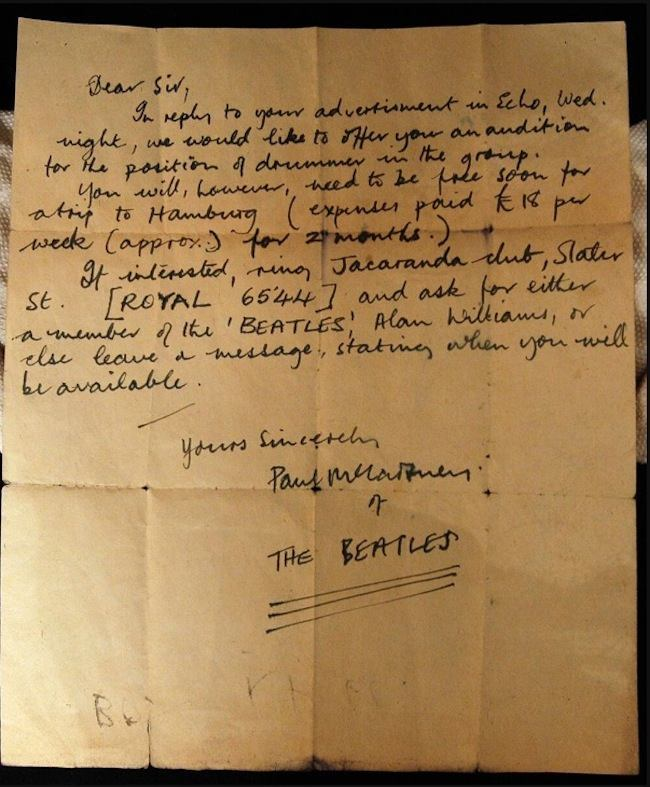 Paul Mccartney S 1960 Letter To Audition A Drummer For The