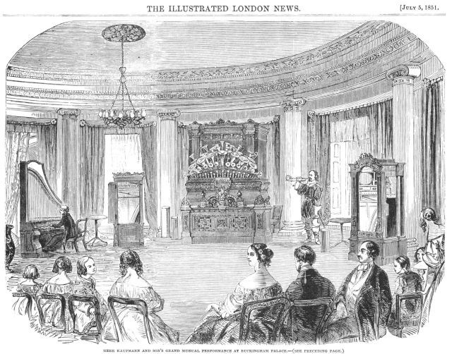 From the Illustrated London News July 5, 1851. The centrepiece is Kaufmann's magnificent Orchestrion.