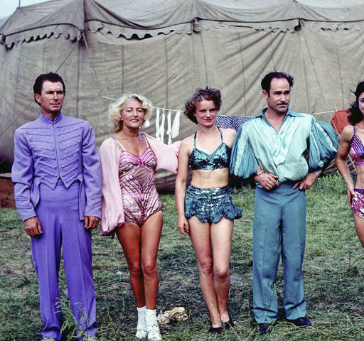 Note(Left to right) An unknown man, Nina Karpowa, German aerialist; the Montons, aerialists (Christa Weiss and Jose Monton); Miss Mara, Spanish aerialist; and Greta Frisk, Danish aerialist. August 31, 19