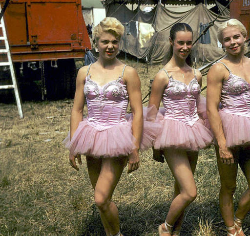 Frenchy Wolthing in Panto's Paradise spec wardrobe. On the race track, State Fair Park lot, 1944.