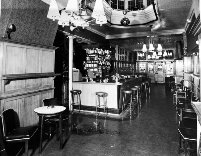 A police photograph showing blood stains on the floor inside the Blind Beggar public house in Whitechapel where George Cornell was killed. Kirsty Wigglesworth/PA Archive/Press Association Images