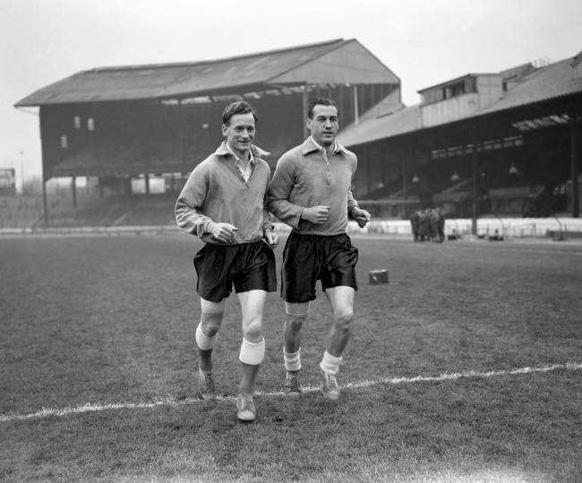 Soccer - International Friendly - England v Spain - England Practice Session - Bridge Tom Finney, left, with Nat Lofthouse at Stamford Bridge during an England training session. Date: 28/11/1955
