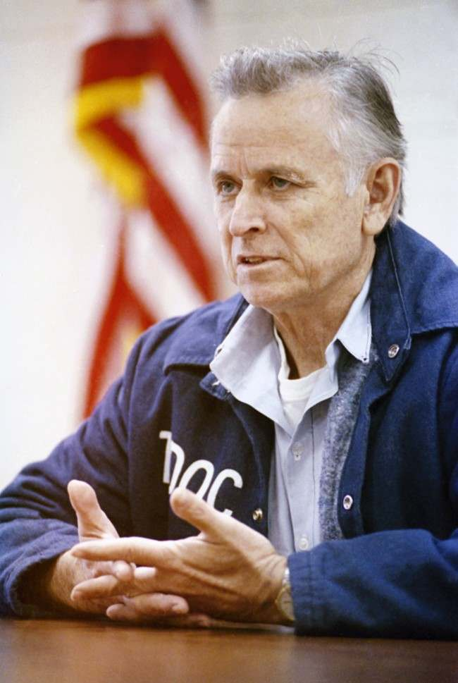 "James Earl Ray is interviewed at the Riverbend Maximum Security institution in Nashville, Tennessee on Jan. 19, 1992, where he is serving 99 years for the murder of civil rights leader Rev. Martin Luther King Jr., Ray proclaims in his new book, ""Who Killed Martin Luther King?"", that he is innocent."