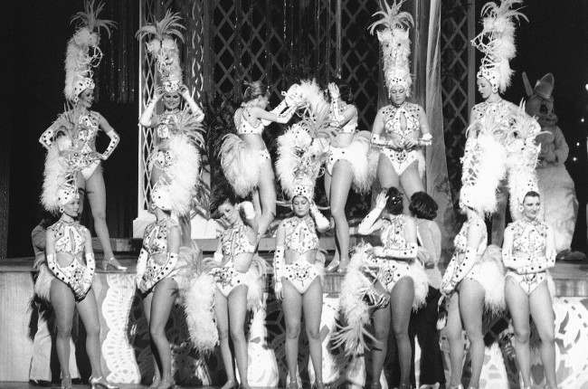 Some of the Radio City Music Hall Rockettes prepare themselves for a dress rehearsal in New York on March 2, 1978. Later in the day they put on the first performance of their annual Easter Show.