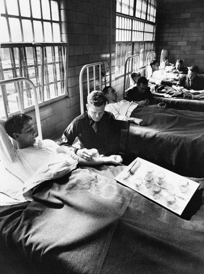 In this June 25, 1945 picture, army doctors expose patients to malaria-carrying mosquitoes in the malaria ward at Stateville Penitentiary in Crest Hill, Ill. Around the time of World War II, prisoners were enlisted to help the war effort by participating in studies that could help the troops. A series of malaria studies at Stateville Penitentiary in Illinois and two other penitentiaries were designed to test antimalarial drugs that could help soldiers fighting in the Pacific. Shocking as it may seem, government doctors once thought it was fine to experiment on disabled people and prison inmates.
