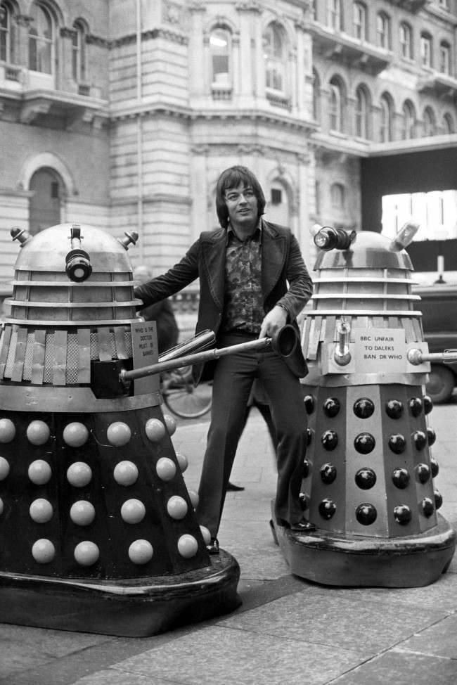 "Radio 1 disc jockey Tony Blackburn, finds himself picketed by Daleks outside Broadcasting House, London. The Daleks, arch enemies of Dr Who, were calling for a ""ban"" on the record ""Who is The Doctor"", made by the Dr Who himself, Jon Pertwee. Date: 04/12/1972"