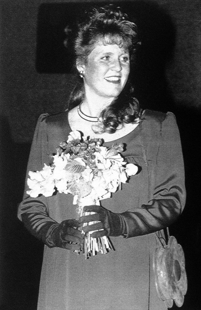 "Britain''s Sarah Ferguson, the Duchess of York, who is expecting her first child in August, arrives for the opening concert in a festival of French Arts entitled ""Images of France"" at the Barbican in London, May 12, 1988."