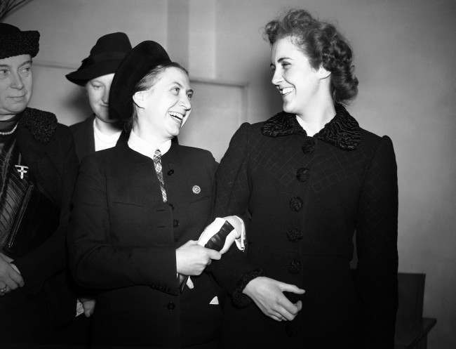 Gertrud Scholtz- Klink, leader of the German women's organisations, and considered by Adolf Hitler to be the perfect German woman, paid a visit to the Women's League of Health and Beauty headquarters in London. The Nazi women's leader, Gertrud Scholtz-Klink, left, with Lady Douglas-Hamilton, formerly Prunella Stack, head of the Women's League of Health and Beauty, during her visit to the headquarters of the league in London, on March 8, 1939