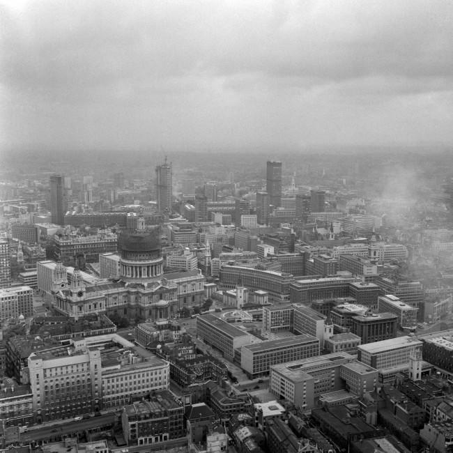 A view of St Paul's Cathedral, with the Barbican development tower blocks in the background. Date: 06/08/1968