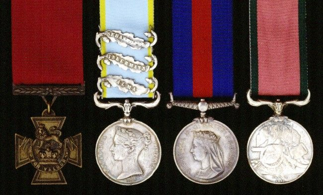 A rare Maori War VC Group of four medals belonging to Lieutenant-Colonel F A Smith, 43rd Light Infantry, late 1st Foot, (l/r) Victoria Cross, Crimea 7 three clasps, New Zealand reverse dated 1863 to 1864 and Turkish Crimea