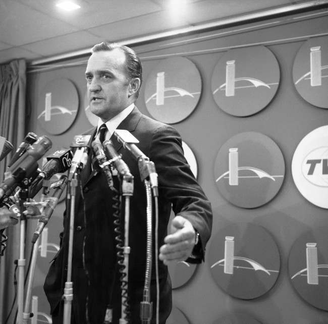 Arthur Hanes attorney for James Earl Ray, holds a press conference on his arrival at Kennedy International airport in New York city on July 19, 1968. Hanes told newsmen he would not seek to have the trial moved from Memphis, Tenn. Hanes was denied a seat on the military jet which brought Ray from London before dawn and arrived at Kennedy airport aboard a commercial jet liner.