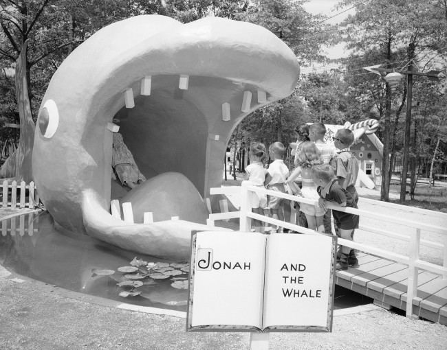 Inquisitive kids get a visual Bible lesson at Storyland in Neptune, New Jersey, July 1, 1955.